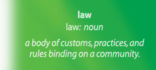 Law - a body of customs, practices, and rules binding on a community.